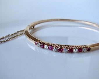 ANTIQUE RUBY and diamond bangle,  diamond  vintage bangle