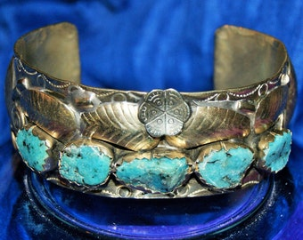 BIG NAVAJO TURQUOISE Cuff Men Sterling c1960