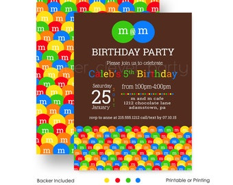 M and M Birthday Party Invitations Kids - Colorful Candy - Twins First Birthday - Sweet Shop - Party Printable - Printed Invite Set (MANDMI)