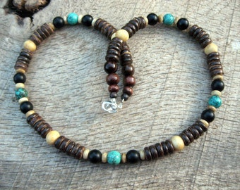 Mens surfer necklace, turquoise, black crystal, bone and coconut shell beads, tribal style, handmade from natural materials, beaded necklace