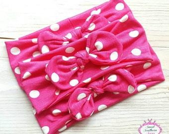 Knott headband / jersey headband / baby headwrap /Polka dot  knot headband / jersey headwrap / knott headband / knott headwrap