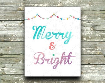 Merry & Bright - 8x10 Instant Download - Christmas Printable Wall Art -  Winter Wall Decor