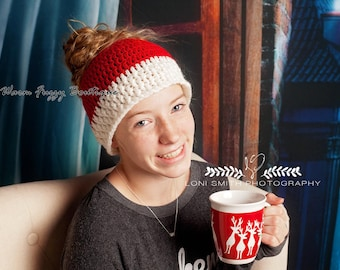 Messy Bun / Ponytail Hat - Child Adult Beanie Boy Girl Winter Christmas  Photo Prop Cap Outfit