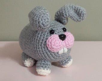 Bunny Rabbit - Crochet Amigurumi Stuffed Animal Plush - Grey gray pink