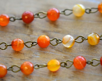 100cm Gemstone Bead Chain Shades of Orange Agate Bead Necklace Chain - 5mm Round Bead on Antique Bronze Wire Jewelry Making Supplies (EC183)