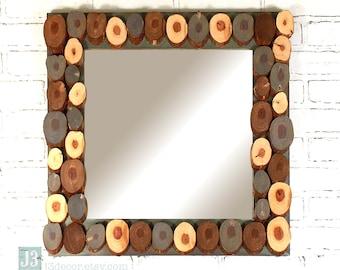 Reclaimed Wood Slice Framed Square Mirror Wall Hanger