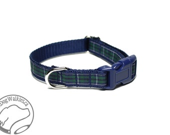 "NEW- Modern Douglas Clan Tartan Small Dog Collar - Thin Dog Collar - 1/2"" (12mm) Wide - Navy Blue Plaid - Choice of style and size"