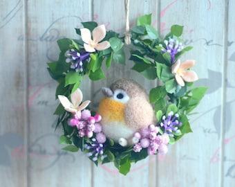 Bird doll home decor ornament, needle felted bird doll on flower wreath, beige bird wreath, handmade gift under 25