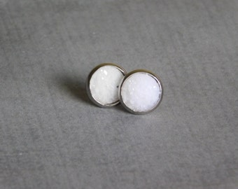 White Resin Druzy Earrings - Sparkly Post Studs