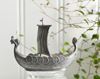 Viking vessel, vintage Norwegian hand forged pewter, small ship, home decor boat