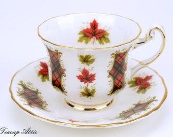 Royal Adderley Teacup and Saucer,  Maple Leaf Tartan Tea Cup And Saucer Set, Wedding Gift, Canadian Tea Cup And Saucer, ca.  1964