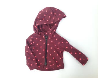 Polka dot hoodie, 18 inch doll clothes, doll jacket, maroon and pink, doll coat, zip up hoodie