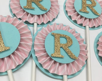 Letter or Number Rosette Cupcake Toppers, Shabby Chic - Custom Colors -Custom Monogram - 1st Happy Birthday Decorations