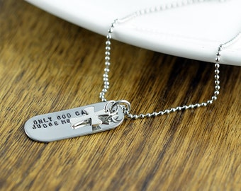 Mens Cross Necklace, Mens Jewelry, Hand Stamped Pendant Necklace, Mens Gift, Tag Necklace, Personalized Jewelry, Dog Tag Necklace