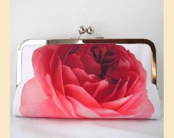 Clutch bag, red evening purse, red rose clutch, white, evening clutch, bridal purse