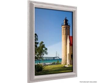 Craig Frames, 16x20 Inch White Hardwood Picture Frame, Wiltshire 130 (130ASHWW1620)