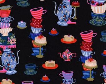 Wonderland - Mad Tea Party in Black - Anna Bond for Cotton + Steel - 8018-01 - 1/2 yd