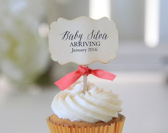 Baby Shower Cupcake toppers, Baby Arriving, Vintage, 12 Toppers