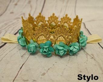 Baby Headband - Infant turqouise crown Headband - gold and turqouise Headband - Girl Headband - Photography Prop - Baby Flower Headband