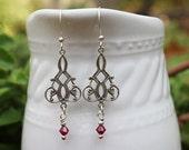Pink Earrings, Pink Bead Earrings, Silver Earrings, Long Earrings, Crystal Earrings, Wedding Jewelry, Swarovski Crystal