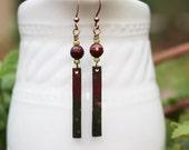 Red Mixed Media Earrings, Mixed Media Jewelry, Green Bead Earrings, Red Bead Earrings, Beaded Jewelry, Bohemian Earrings, Long Earrings