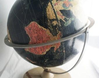 Globe- 1950s Black Starlight Replogle 12 inch Spinning axis vintage tabletop classroom globe