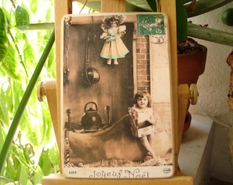 French Victorian style, Joyeaux Noel, Happy Christmas,little girl & doll, kitchen hearth tinted photo image, small Holiday gift