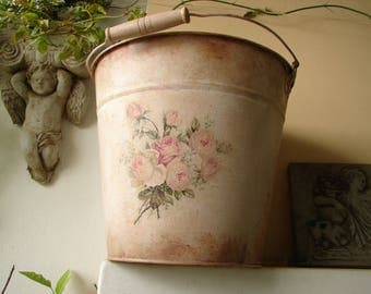 French pink painted,distressed tin bucket or pail,with shabby pink roses decoupage & wooden carrying handle