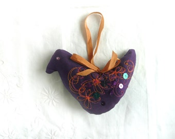 Hand made silk bird - silk bird decoration - embroidered silk Christmas decoration - fabric bird Xmas decoration - embroidered silk bird