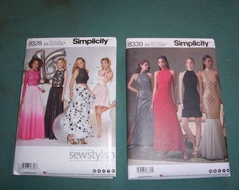 Simplicity 8328 or Simplicity 8330...Stylish Special Occasion Tops and Skirts...Prom Dress Patterns..Fancy Gowns...Homecoming Dresses..