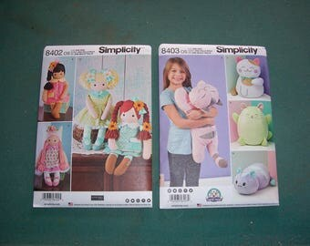 New Simplicity 8403 or Simplicity 8402...Stuffed Kitties and Stuffed Dolls with Clothes...Sewing Patterns..