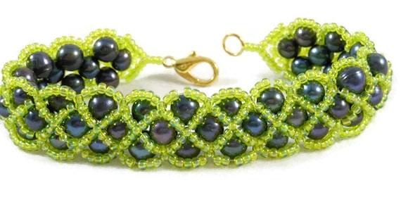 Peacock Potato Pearl Bracelet and Earrings Set