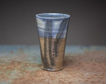 Rustic tumbler, Wheel thrown ceramic tumbler, stoneware tall tumbler,wood fired pottery,beer tumbler,elegant cup