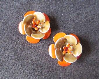Flower Earrings Orange Enamel Clip-On Vintage 1960s