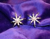 Vintage Starburst  AB  Rhinestone  Earrings. Screw backs.1960's