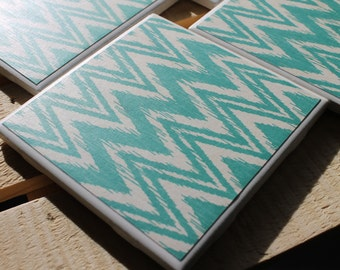 Teal Chevron Four Piece Ceramic Tile Coaster Set