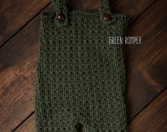 Newborn overalls green ready to ship Photography Prop RTS