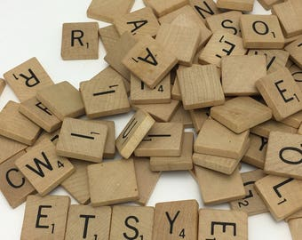 100 Wooden Scrabble Tiles used scrabble letters
