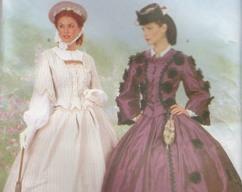 Civil War Era Gown Costume Pattern Butterick 6694 Sizes 18 - 22 Uncut