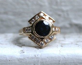 Lovely Vintage 14K Yellow Gold Diamond and Sapphire Engagement Ring - 1.67ct.