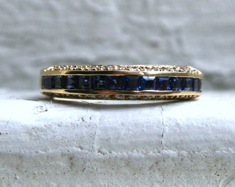 Vintage 18K Yellow Gold Sapphire and Diamond Wedding Band - 1.68ct.