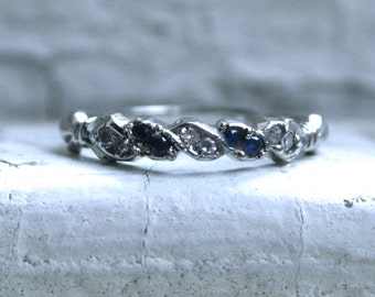Sweet  Vintage 18K White Gold Diamond and Sapphire Wedding Band by Bristol.