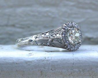 Vintage Inspired Diamond Halo Filigree Engagement Ring Wedding Ring in 14K White Gold.