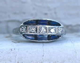 RESERVED - Unusual Vintage Art Deco 19K White Gold Diamond and Sapphire Ring Engagement Ring.