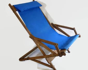 Wooden Rocking Deck Chair, Vintage Wood Sling Chair, Teak Folding Lawn Chair, Blue Canvas Beach Chair