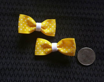 Polka Dot Bow, Yellow, *Set of Two*