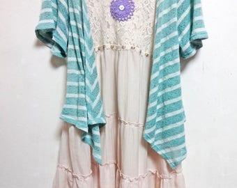 Upcycled cotton Blue stripe Tops Tunic Dress small -  medium