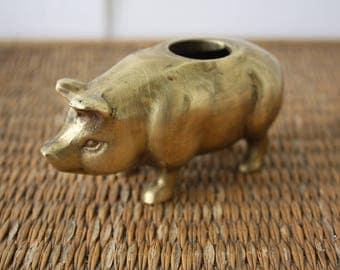 brass pig toothpick holder, brass pig, pig, metal pig, toothpick holder, vintage brass pig, brass pig match holder