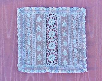 Antique Normandy lace doily, delicate square lace doily, assembled lace doily