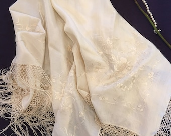 Victorian Vintage Cream Handmade SILK SHAWL Embroidered and Fringed.  Victorian Exquisite Embroidered SILK Shawl.